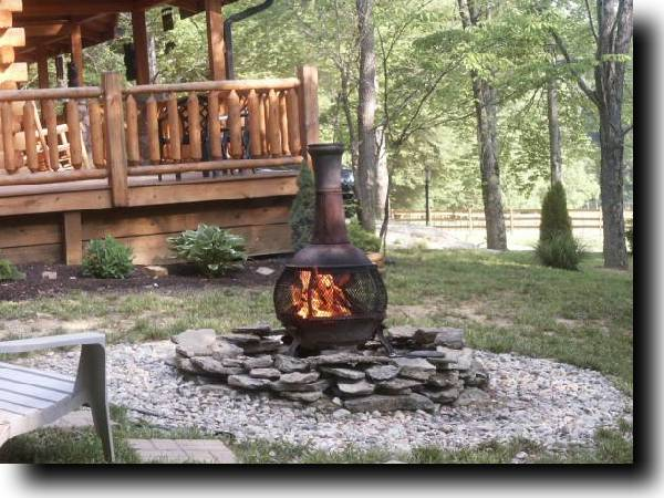 ourdoor firepit/chimnea in the woods