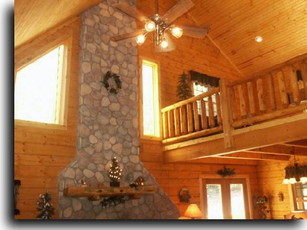 Brown county log cabin rental nashville in hottub fireplace for Log cabin with loft