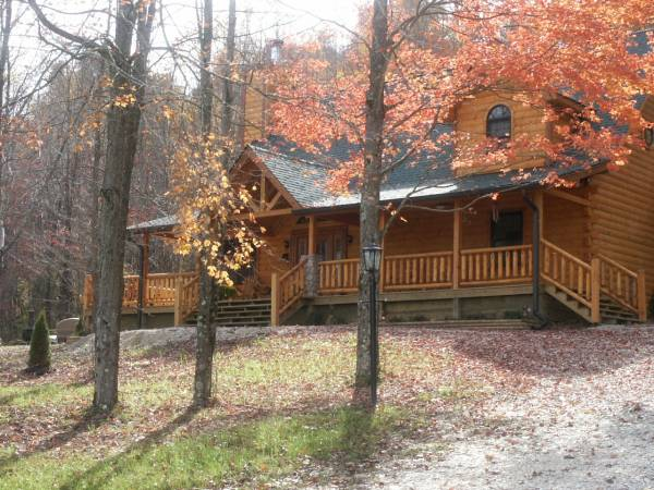 log cabin fall season